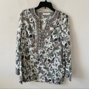 Tory Burch Beaded Floral Tunic Blouse- Size 6